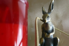 A rabit and a red something...