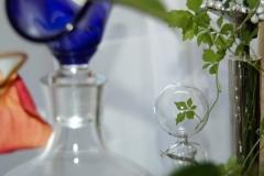 A crystal leaf is shining through the glas. A beauty...
