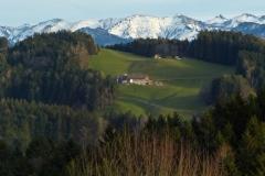A farm on the bright sunny day in winter